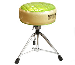 Pork Pie Deuce Silver / Monster Green Drum Throne with Base