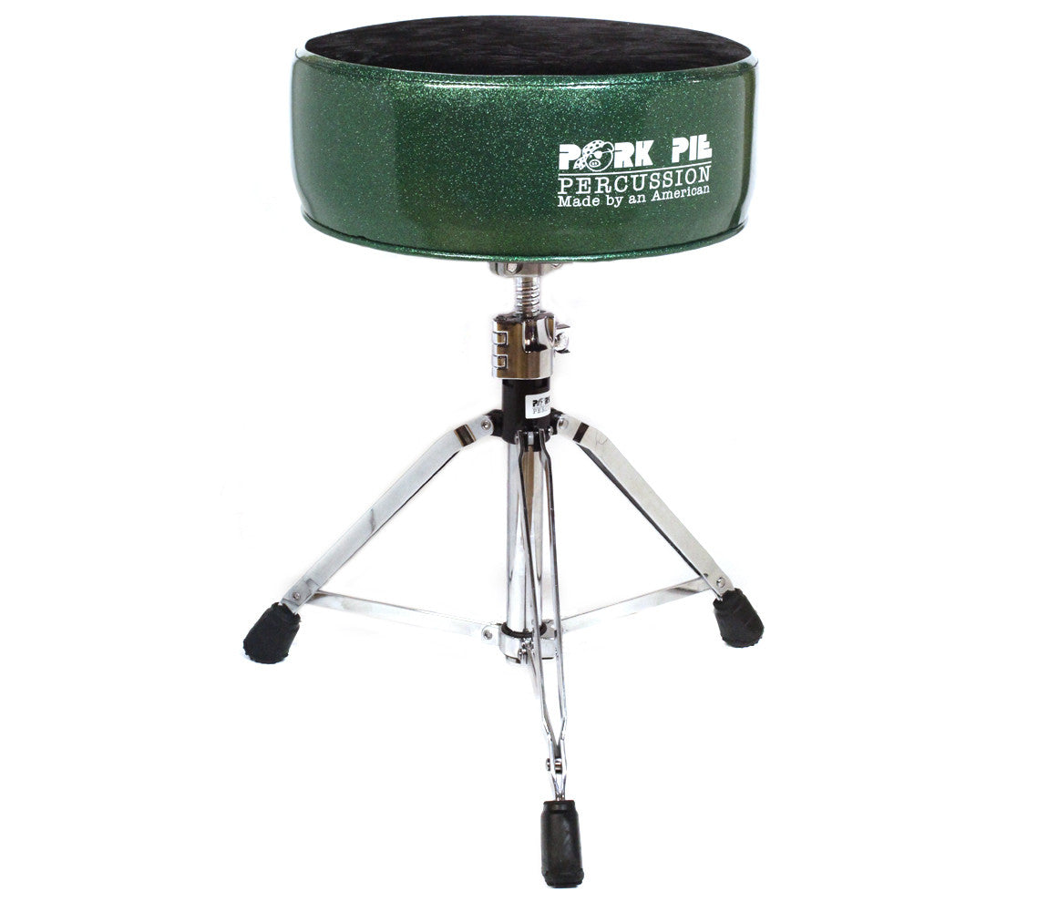 Pork Pie Round Green and Black Crush Drum Throne
