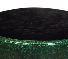 Pork Pie Green and Black Crush Round Drum Throne