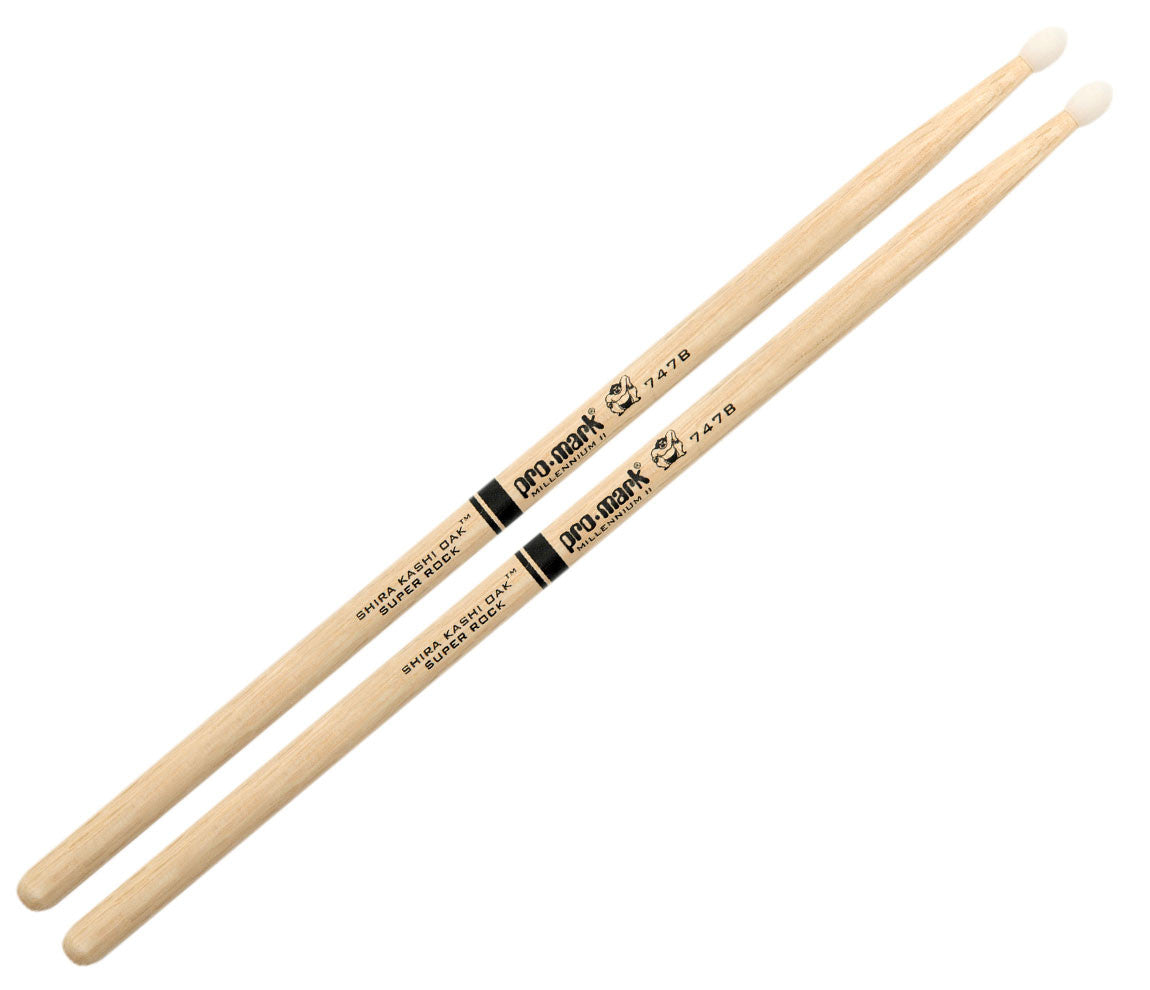 Pro-Mark Shira Kashi White Oak 747B 'Super Rock' Nylon Tip Drumsticks (PW747BN)