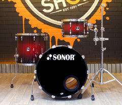 Pre-Loved Sonor Force 3007 Drum Kit in Red to Black Burst