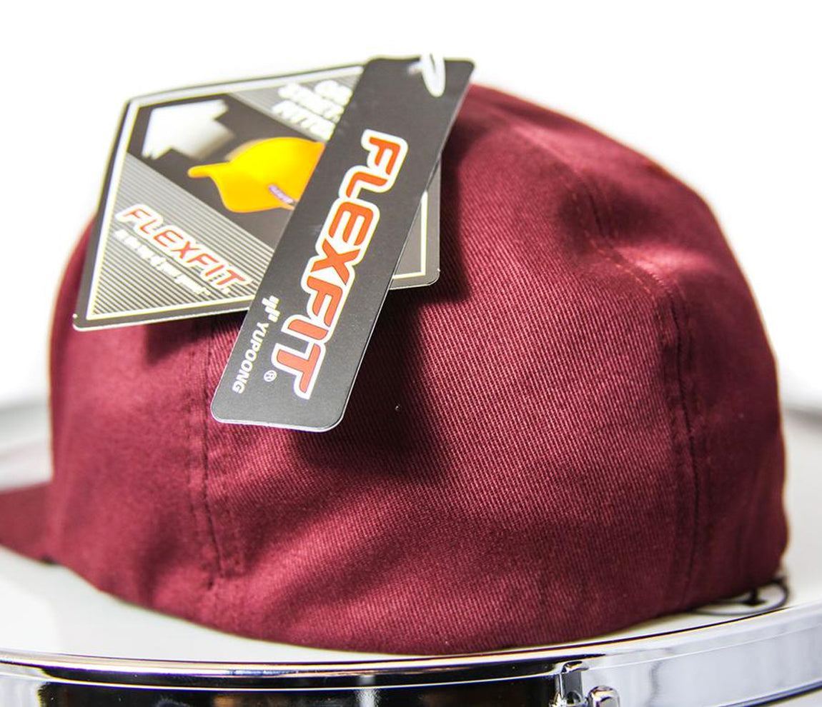RAW Fitted Cap in Burgundy and White, Flexfit Cap, Snapback