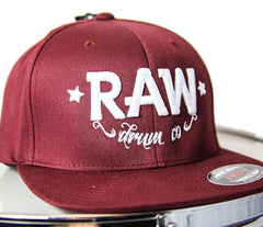 RAW Burgundy and White Fitted FlexFit Cap