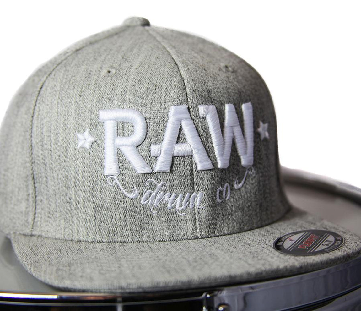 RAW Fitted Cap in Heather and White, Flexfit Cap, Snapback