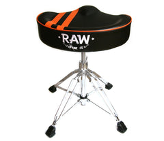 RAW 'Moto-Top' Stripe Top Black Drum Throne, 4-Legs