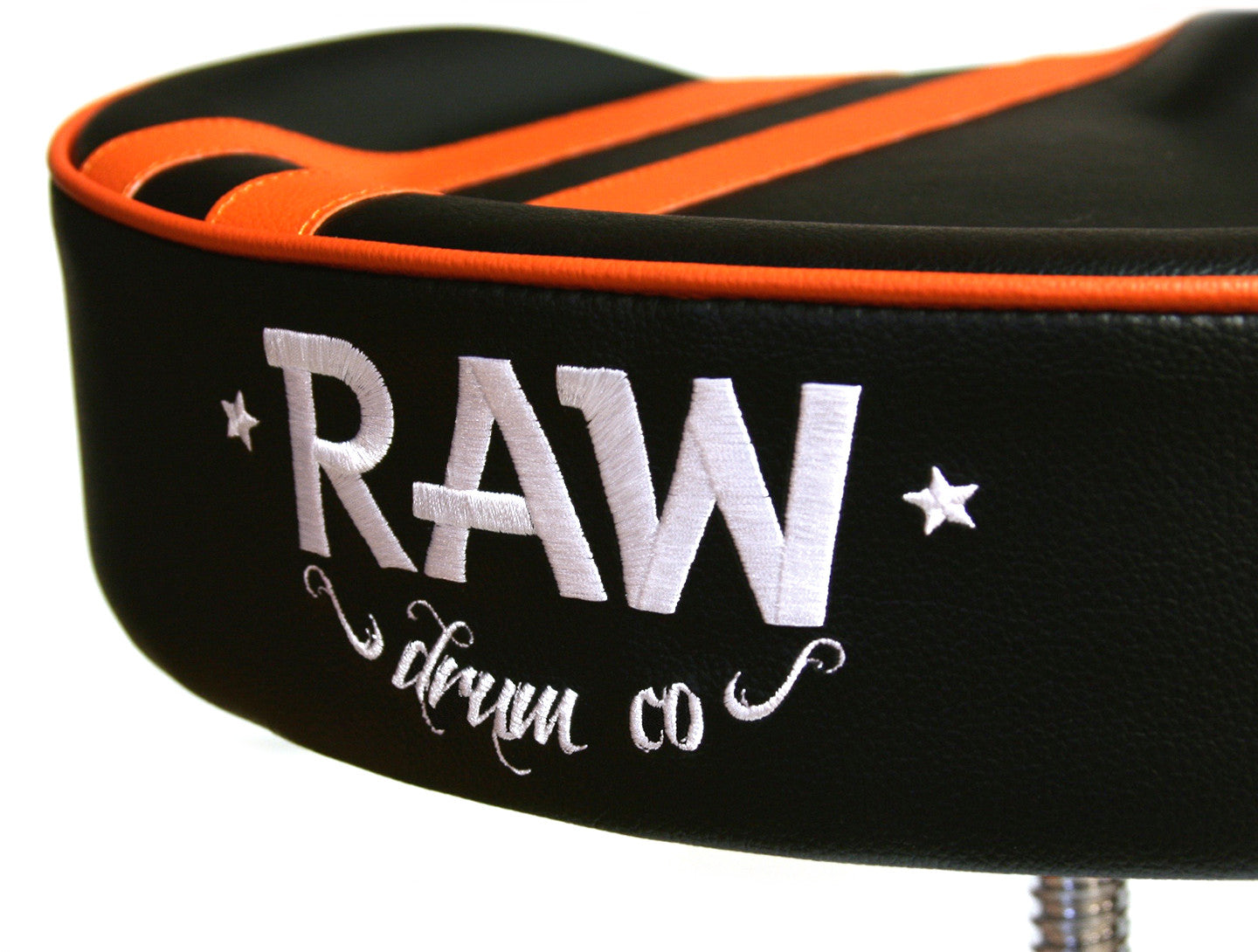 RAW drum company rally stripe black and orange drum throne