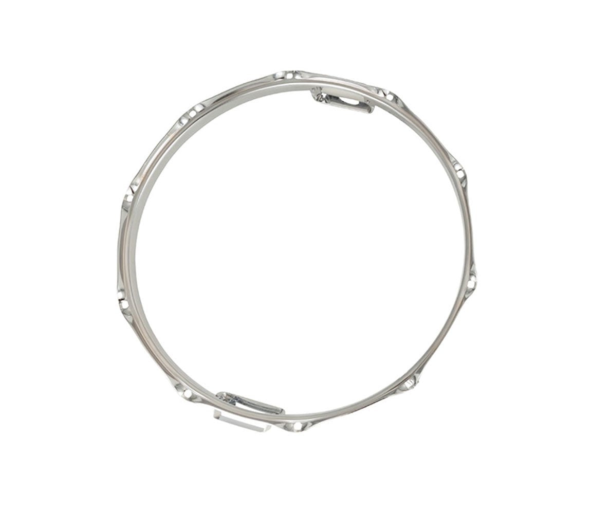 Rogers Dyna-Sonic 14″ Bottom Hoop with Snare Gates, Rogers, Hoops, Drum Hoops, Steel, Chrome Plated, 14