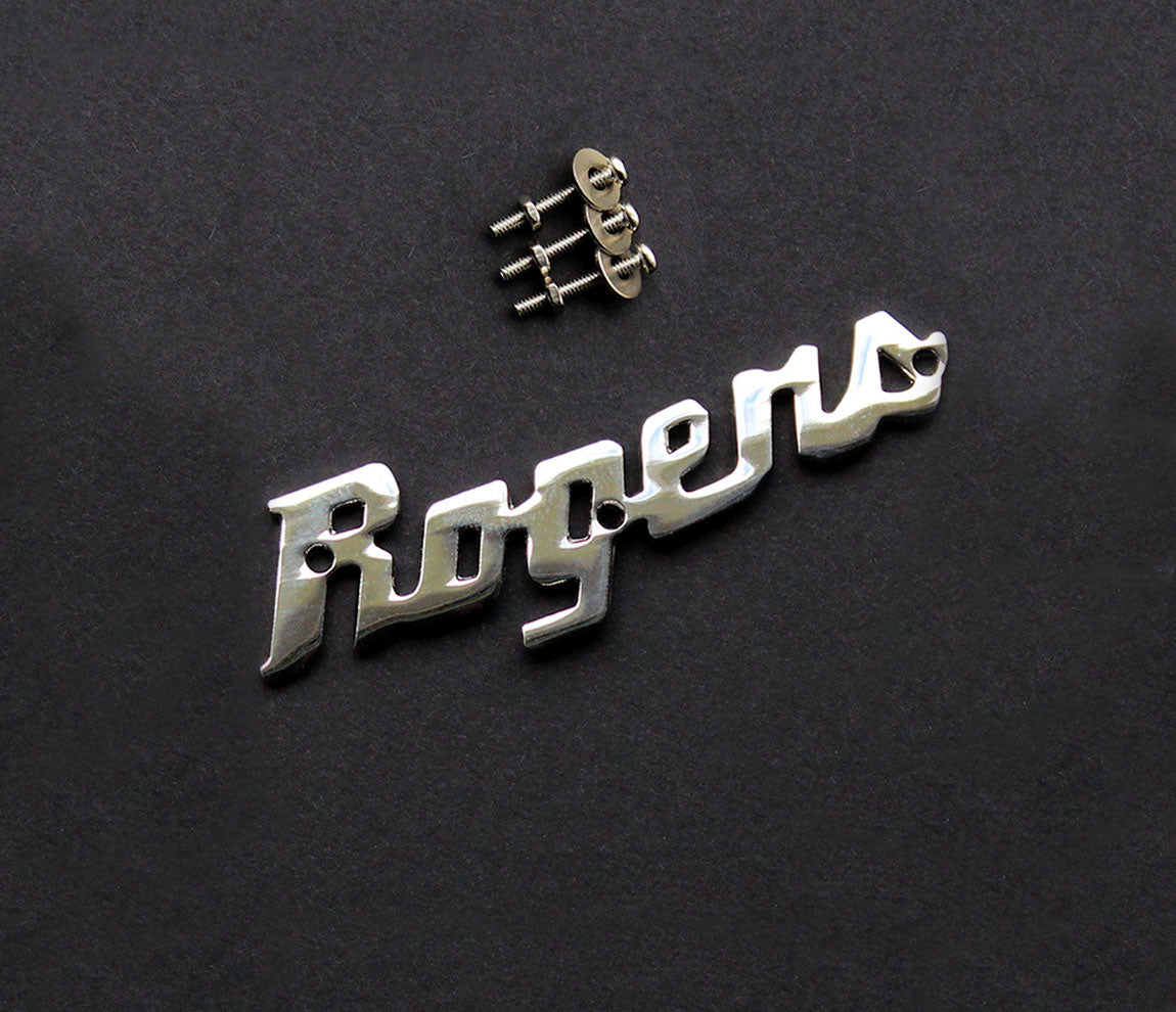 Rogers Script Logo Badge, Rogers, Drum Badge, Other Parts & Accessories, Steel, Chrome Plated