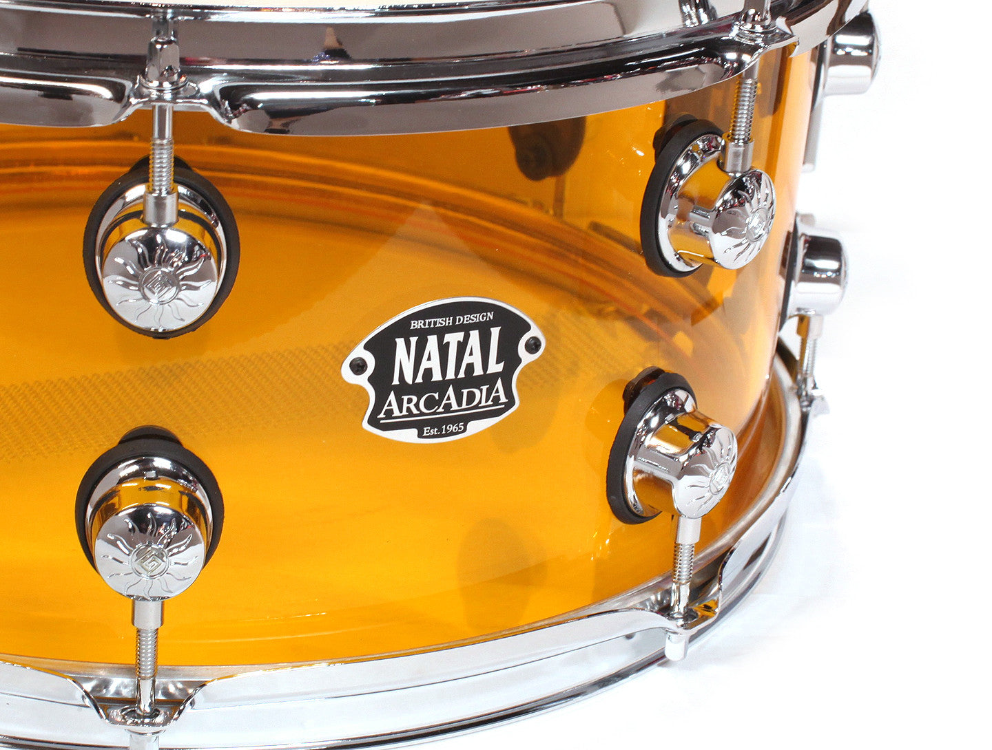 Natal Arcadia Acrylic Orange Snare Drum