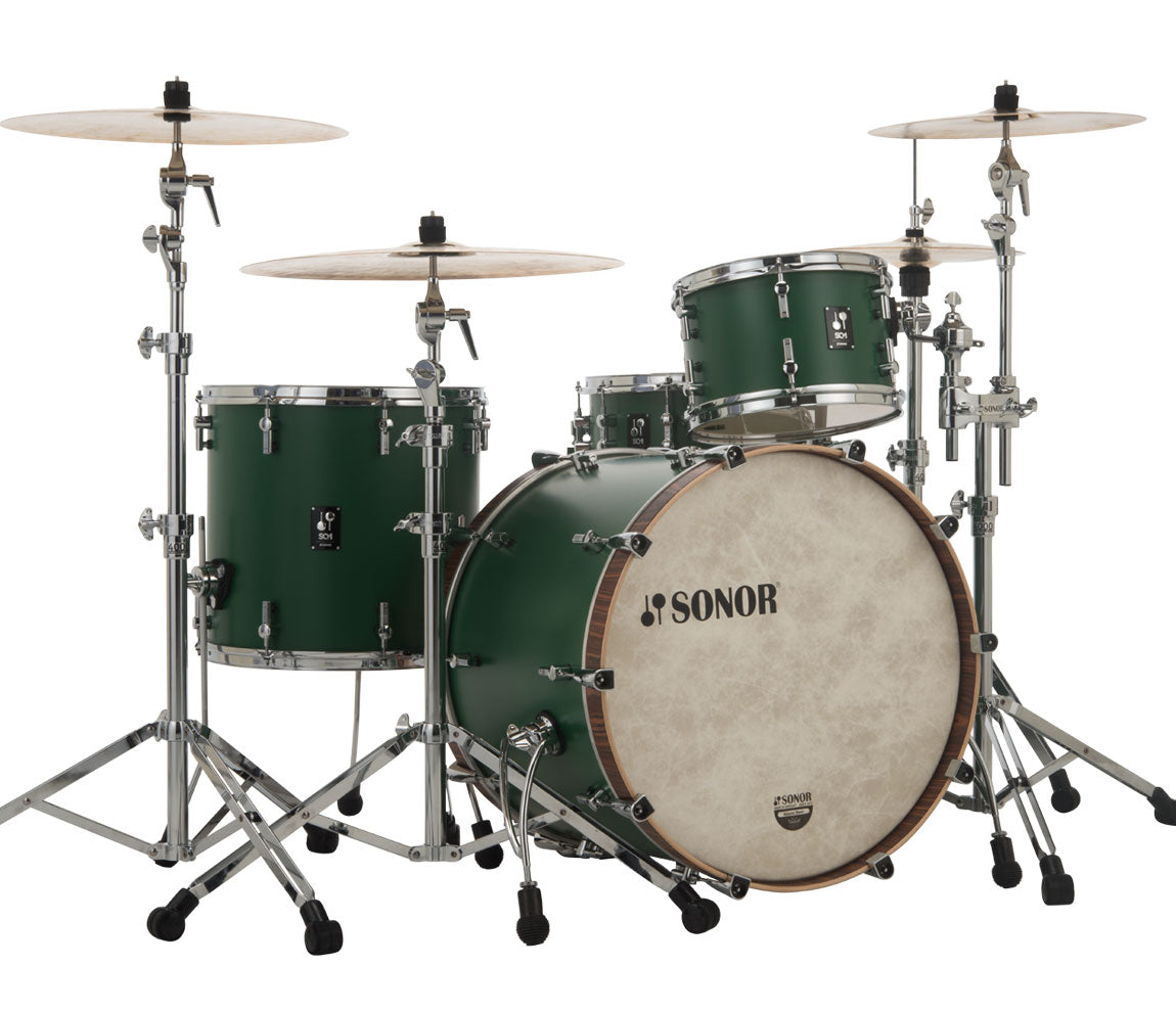 Sonor SQ1 324 Set NM GTB 3 Piece Shell Pack in Roadster Green, Sonor, Sonor SQ1 Series, Acoustic Drum Kits, Drum Kits, Roadster Green, 3-Piece