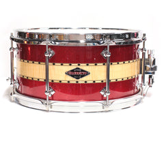 Craviotto Stacked Solid Red Sparkle Snare Drum - Maple/Curly/Maple