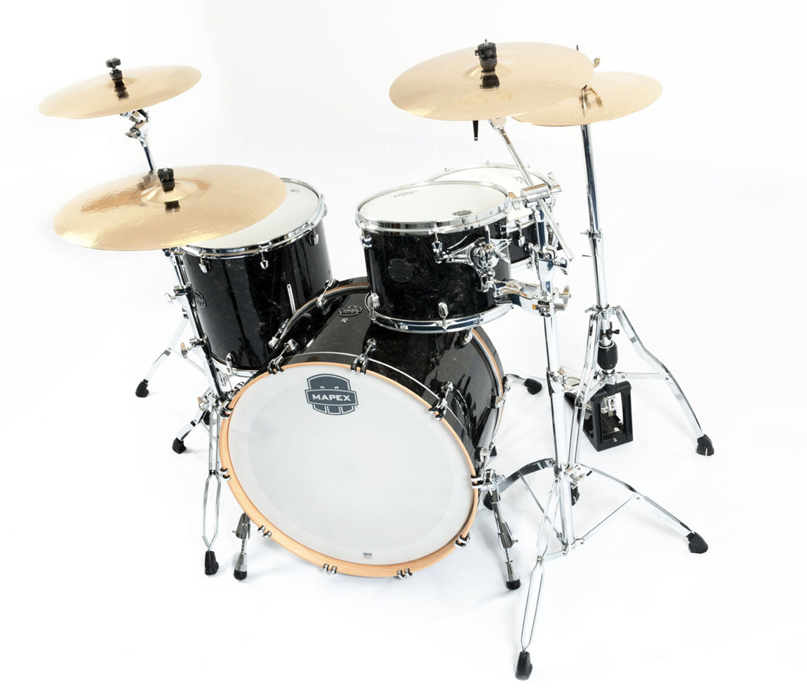Mapex Saturn V Tour Edition 3 Piece Shell Pack, Mapex, Acoustic Drum Kits, Mapex Drums, Saturn V Tour Edition, Black Pearl