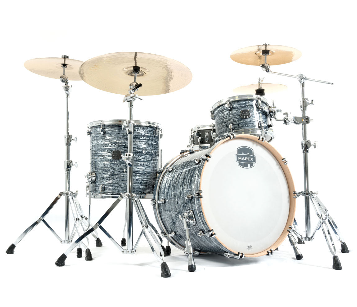 Mapex Saturn V Tour Edition 3 Piece Shell Pack, Mapex, Acoustic Drum Kits, Mapex Drums, Saturn V Tour Edition, Black Strata Pearl