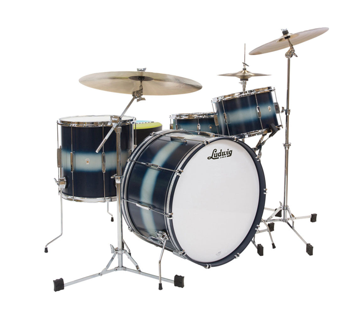 Ludwig Club Date Vintage Downbeat 3-Piece Shell Pack in Blue Silver Duco
