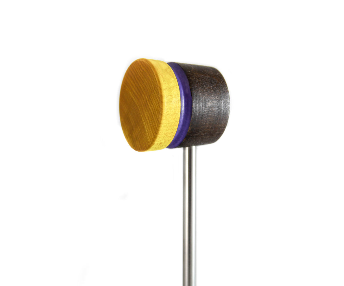 Low Boy Stained Yellow/Brown with Purple Stripe Lightweight Bass Drum Beater (LB-LW-BYP)