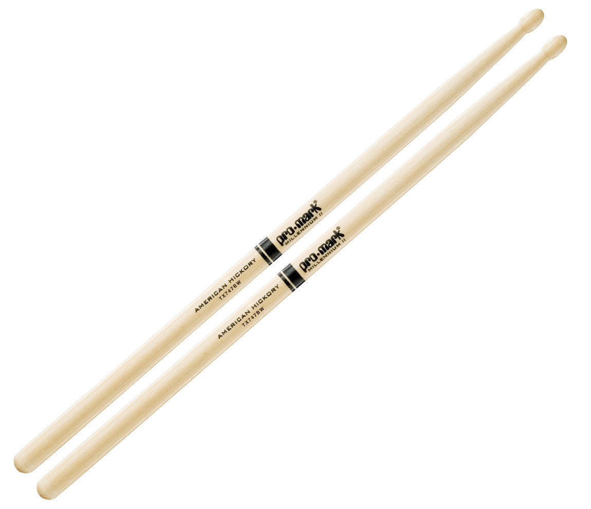 Pro-Mark American Hickory 747B 'Super Rock' Wood Tip Drumsticks (TX747BW)