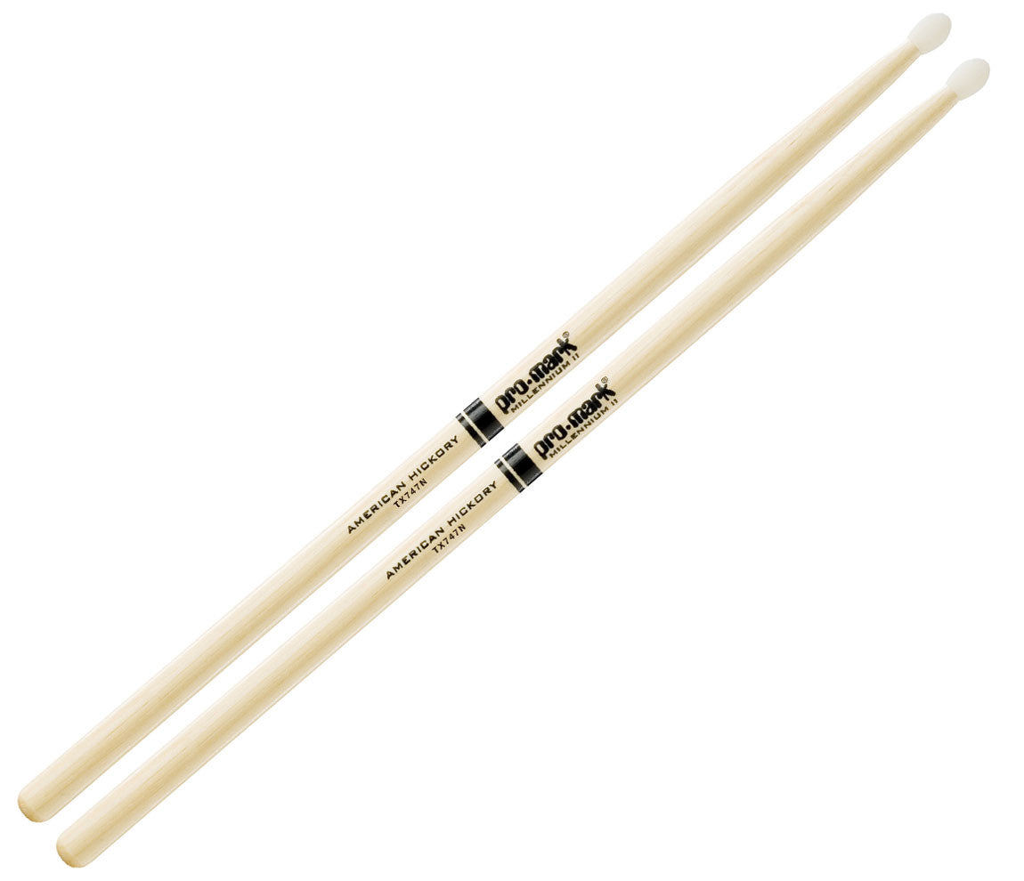 Pro-Mark American Hickory 747 Nylon Tip Rock Drumsticks (TX747N)