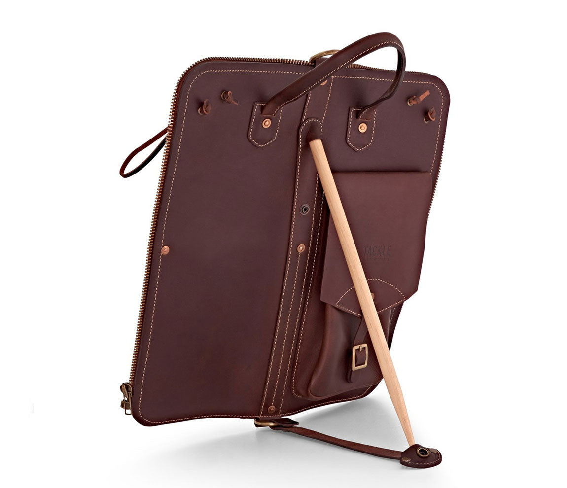 TACKLE LEATHER STICK CASE WITH PATENTED STICK STAND (BROWN), Tackle Instrument Supply Co., Bags & Cases, Drumsticks Bags & Holders, Leather, Brown