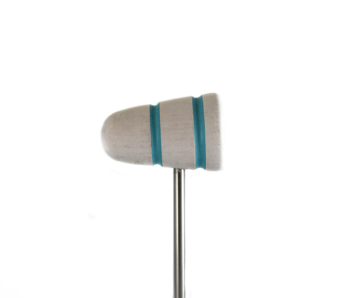 Low Boy White Wash with Shock Blue Stripe Standard Bass Drum Beater (LB-ST-WWSF)