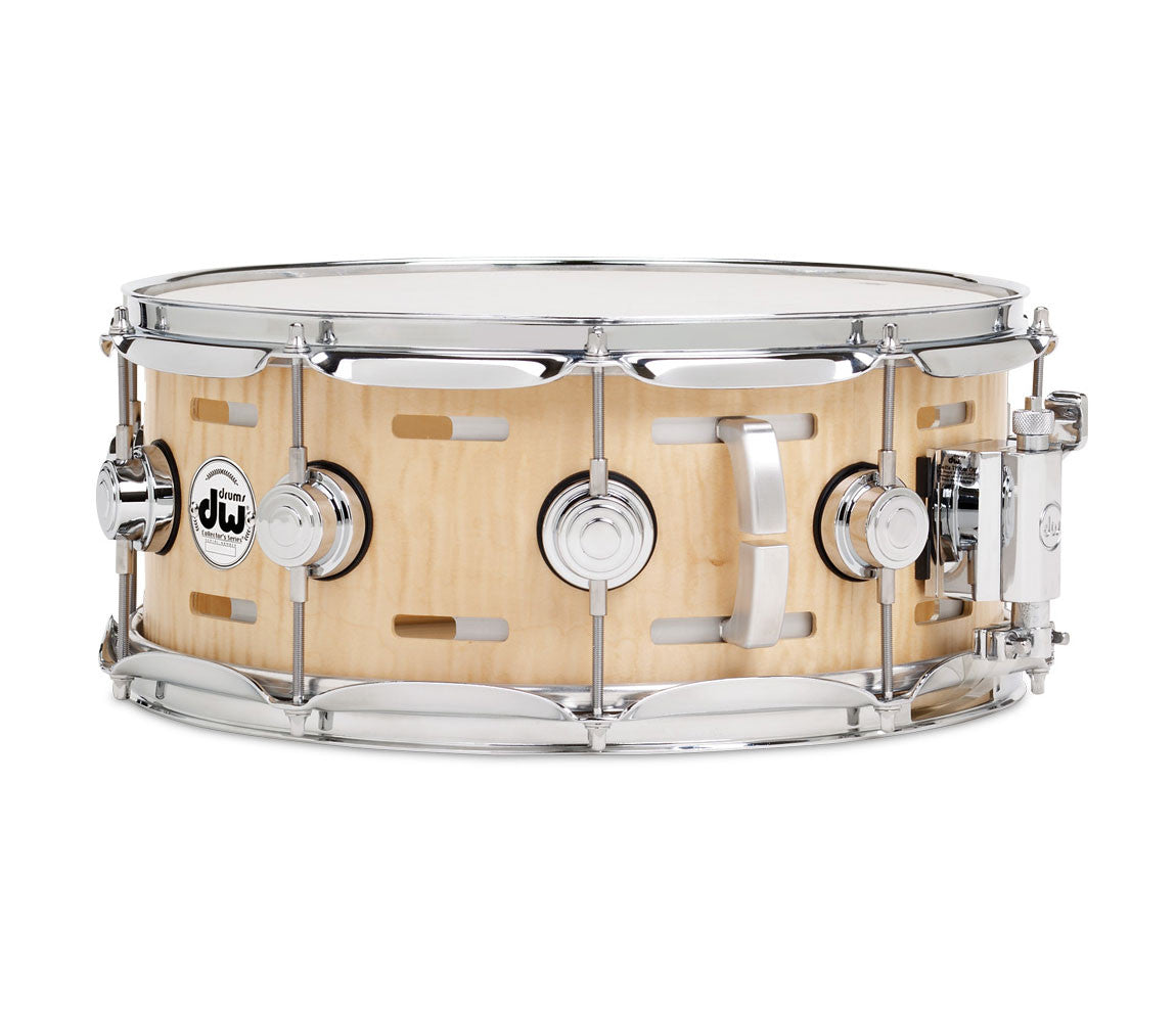DW Collector's Series Acoustic EQ Specialty Snare- Natural Satin Oil Finish Over Curly Maple.