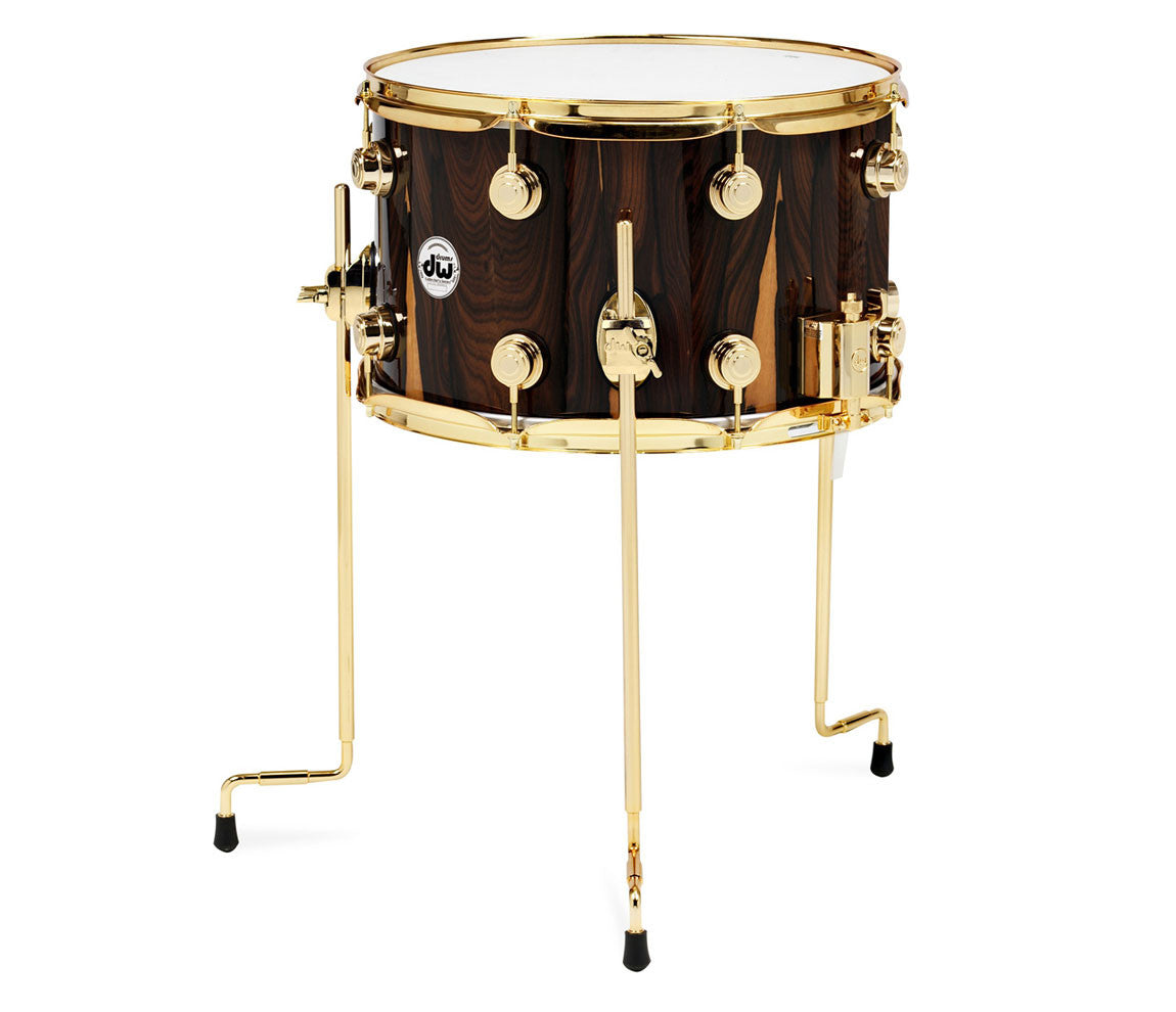 DW Collector's Series Ballad Snare Drum- Natural Lacquer Over Ziricote With 24k Gold Hardware.