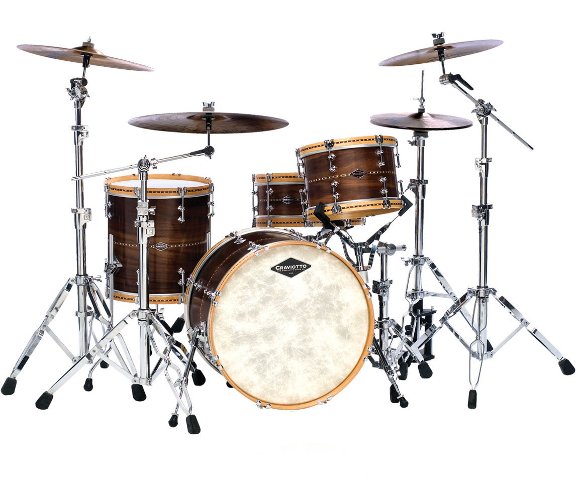 Craviotto USA Custom Walnut 4-Piece Drum Kit With Wood Hoops