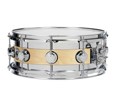 DW Collector's Series Edge Specialty Snare Drum- Natural Satin Over Maple.