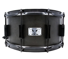 Pork Pie 12 x 7 Little Squealer Snare Drum Birch Maple in Flat Black Lacquer with Black Hardware