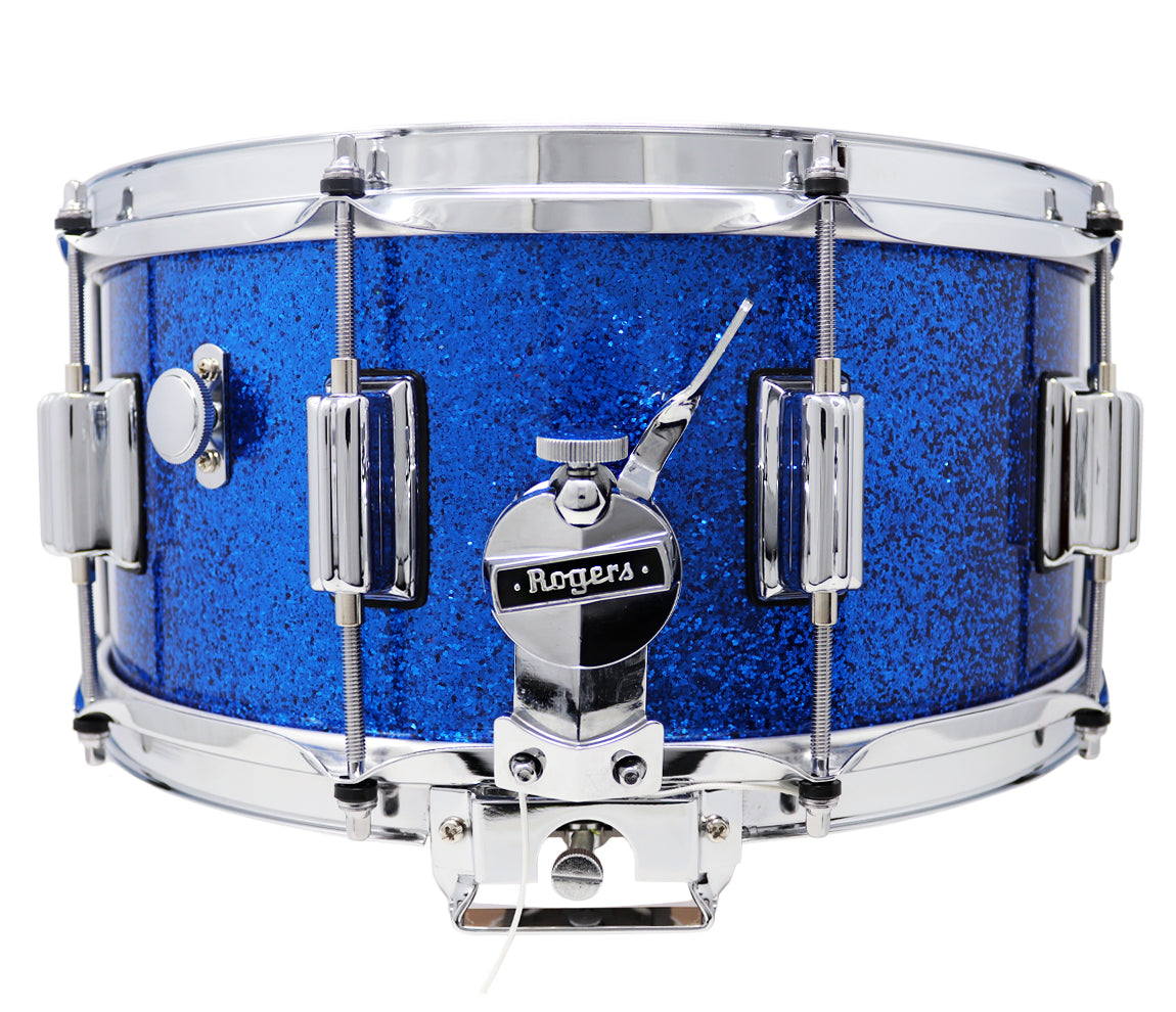 Rogers Dyna-Sonic Beavertail Lugs Blue Sparkle Lacquer 14
