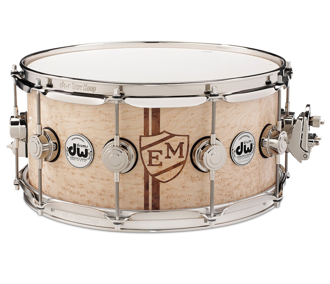 DW Collector's Series Exotic Monogram Specialty Snare Drum- Natural Gloss Over Birdseye Maple.