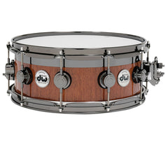 DW Collector's Series Maple/Mahogany Top Edge Specialty Snare Drum-Natural Lacquer Over Mahogany.