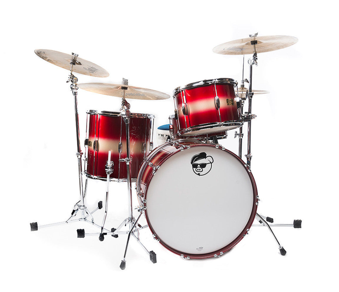 Pork Pie Hip Pig Rock 4-Piece Red Gold Duco Drum Kit