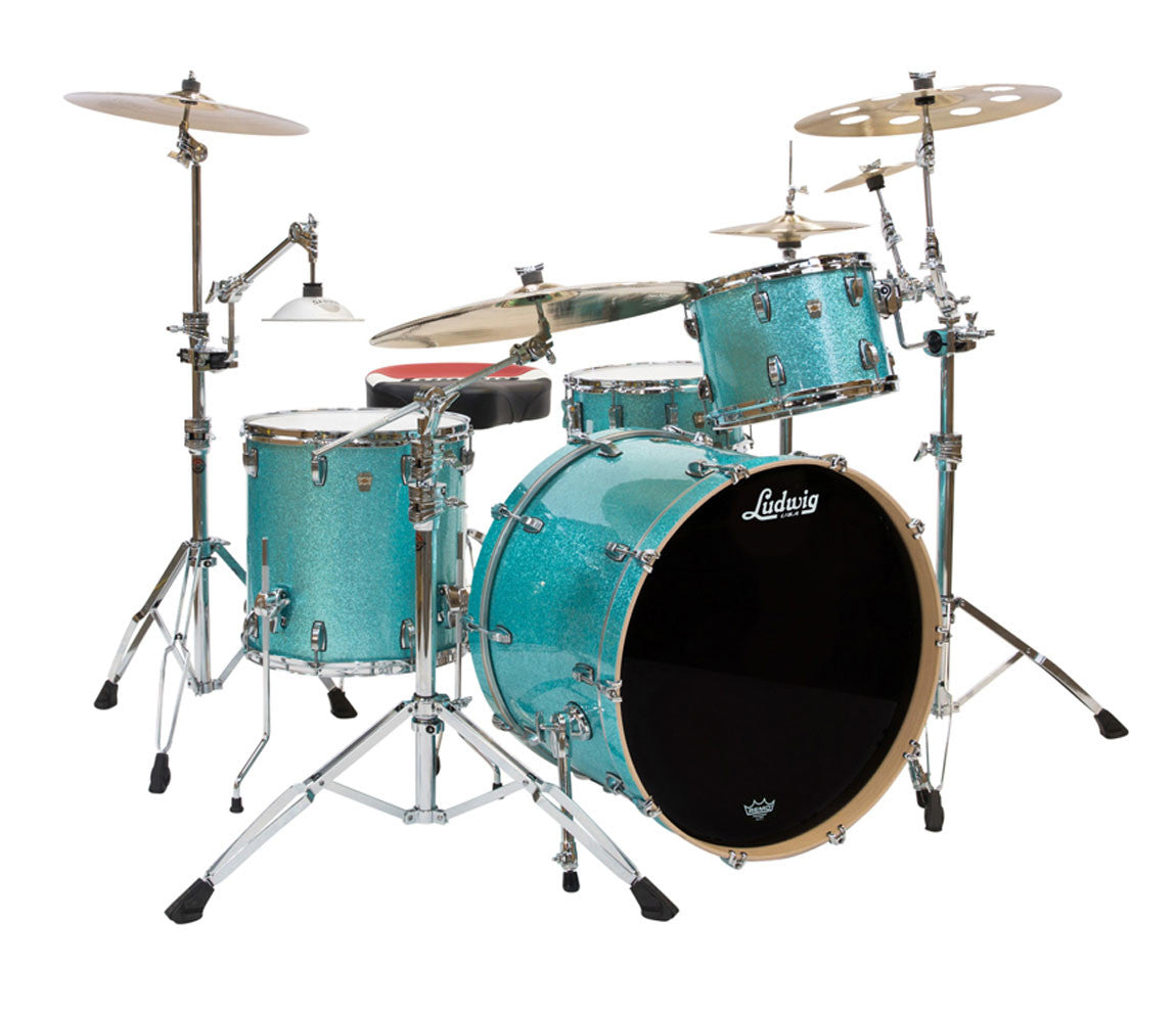 Ludwig Keystone X 4-Piece Shell Pack in Turquoise Glitter