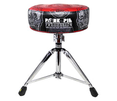 Pork Pie Special Edition Black and Red Skull Drum Throne