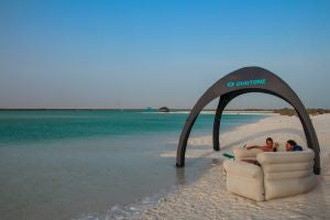 inflatable furniture and shade beach