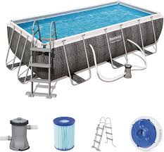 Power Steel Rectangular Pool Set 4 m x 2.01 m x 1 m Bestway 56721