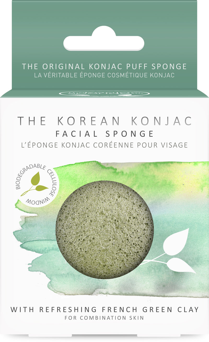 Konjac Premium Facial Puff Sponge With French Green Clay