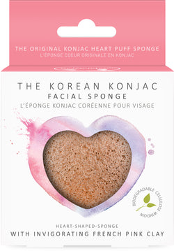 Konjac Heart Sponge With French Pink Clay
