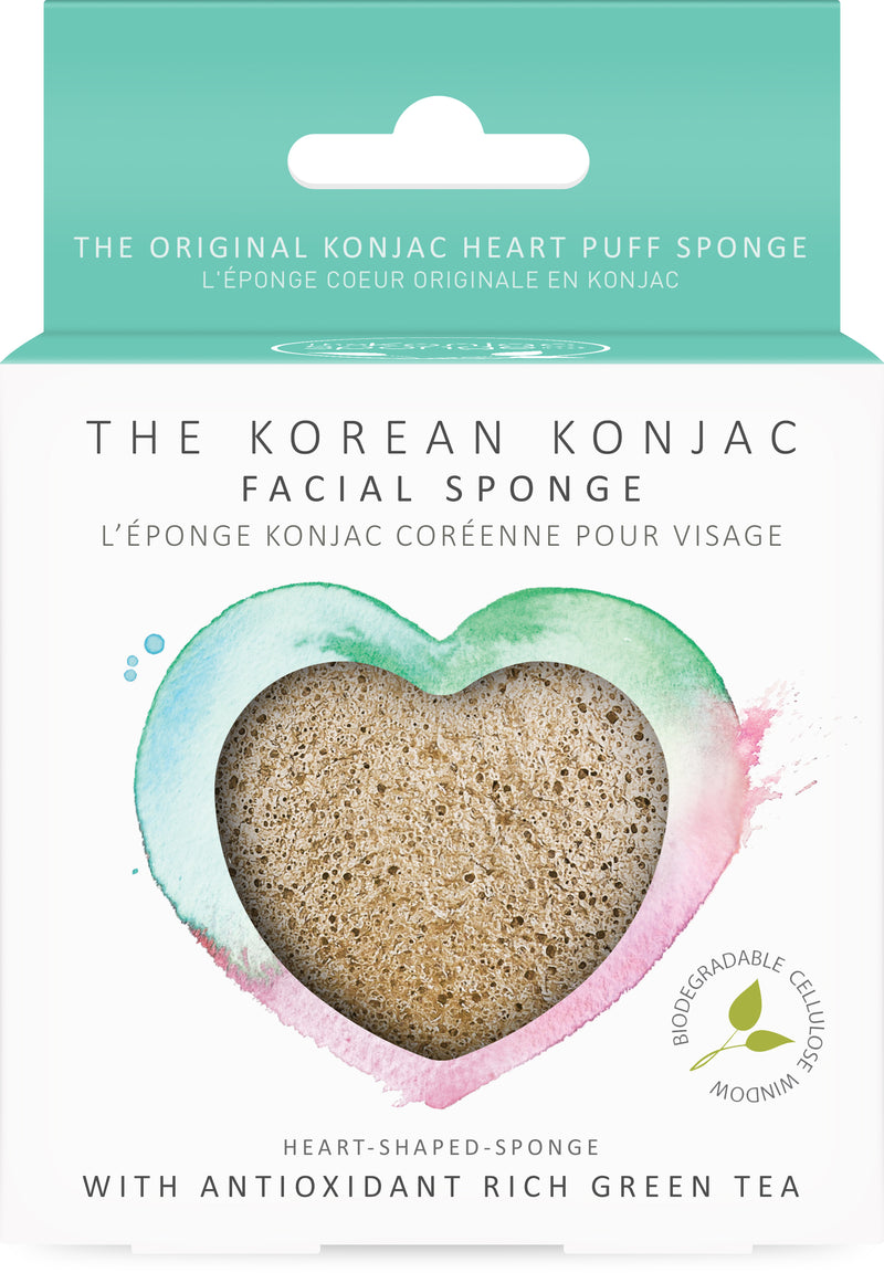 Konjac Heart Sponge With Green Tea