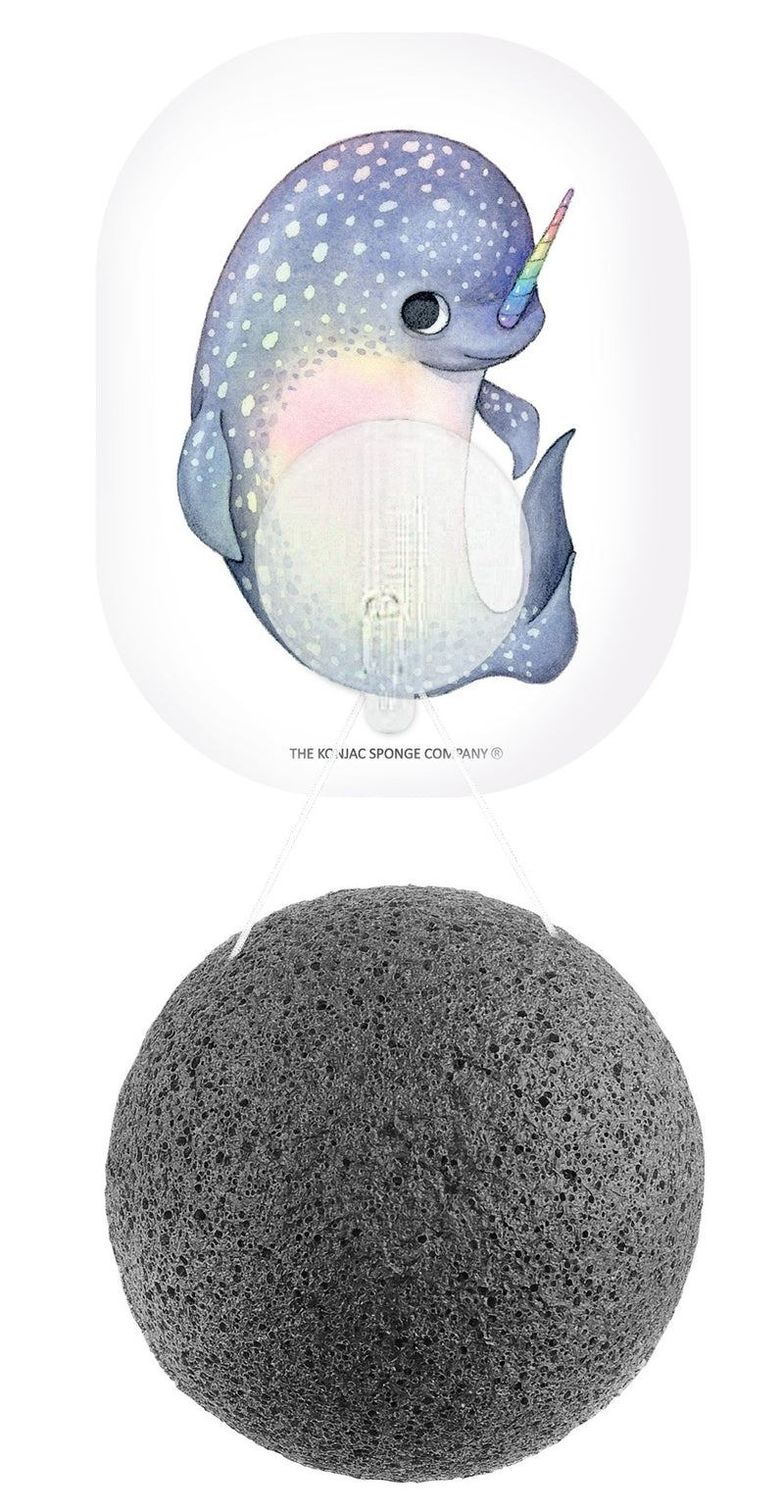 Mythical Narwhal Konjac Face Sponge & Hook Bamboo Charcoal