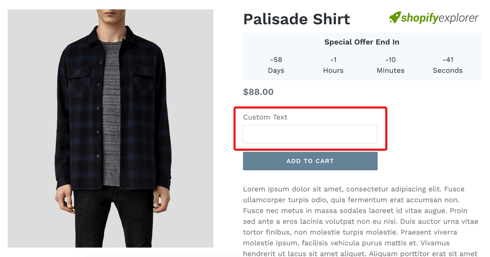 How to add custom properties to Product page on Shopify