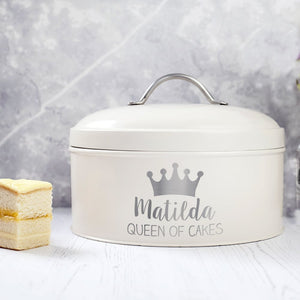 Personalised Queen Enamel Cake Tin