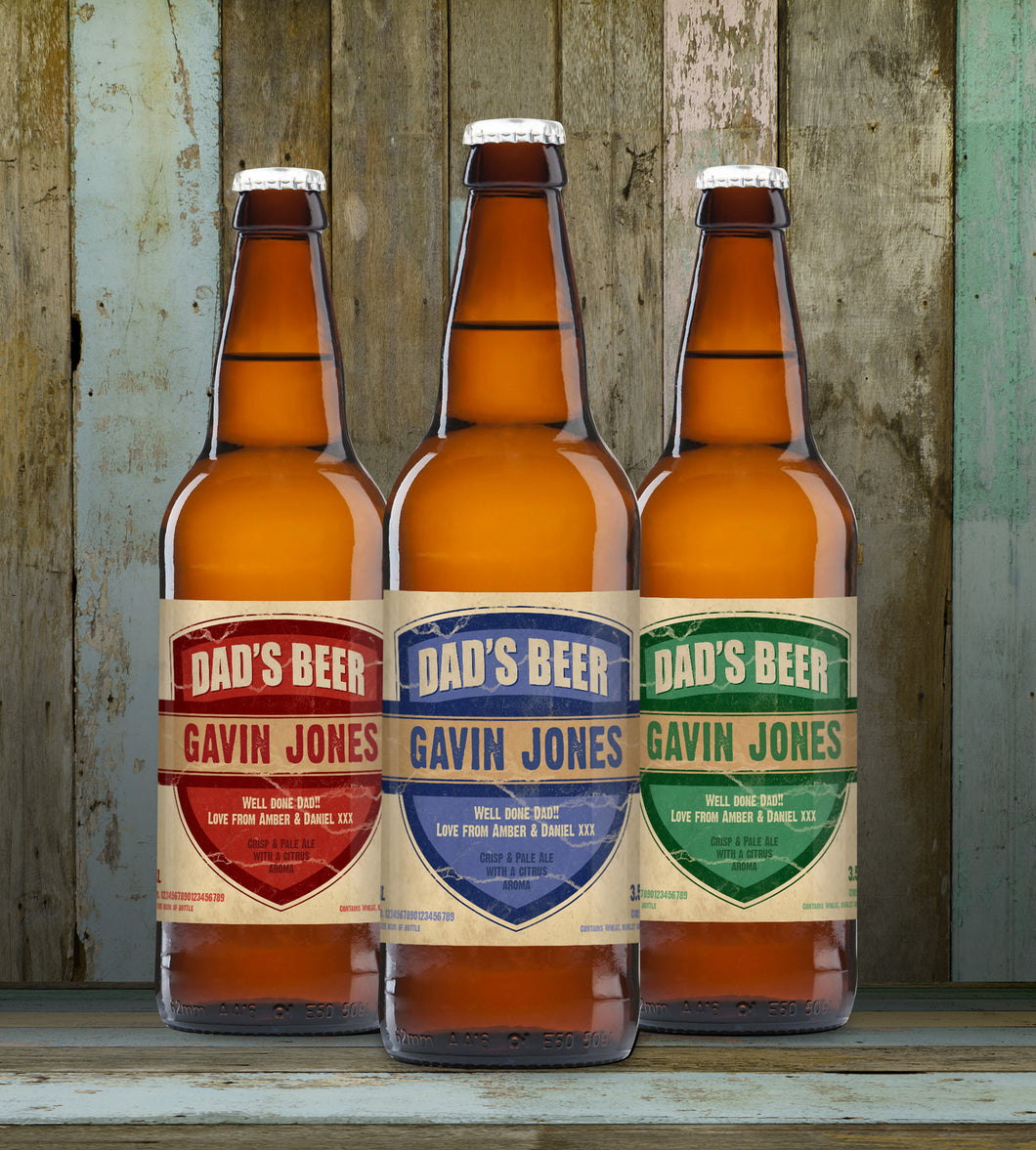 Personalised Dad's 3 Pack of Beer