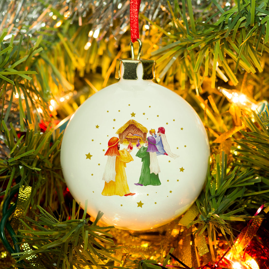 Personalised Nativity Scene Bone China Bauble