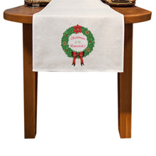 Load image into Gallery viewer, Personalised Traditional Christmas Wreath Table Runner