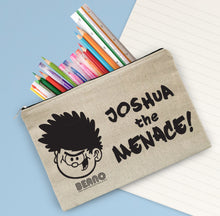 Load image into Gallery viewer, Personalised Beano Big Heads Dennis Canvas Pencil Case