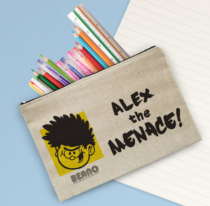 Personalised Beano Big Heads Dennis Canvas Pencil Case