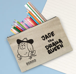 Personalised Beano Big Heads Minnie Canvas Pencil Case