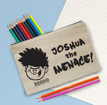 Load image into Gallery viewer, Personalised Beano Big Heads Dennis Pencil Case & Pencils