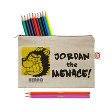 Load image into Gallery viewer, Personalised Beano Big Heads Gnasher Pencil Case & Pencils